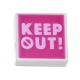 LEGO csempe 1×1 'Keep out!' felirat mintával, fehér (3070bpb185)