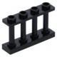 LEGO kerítés 1×4×2 tetején négy bütyökkel, fekete (15332)