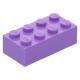 LEGO kocka 2x4, közép levendulalila (3001)