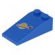 LEGO tetőelem 18°-os 4×2 űrhajós logó mintával, kék (17982)