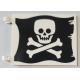 LEGO zászló 6×4 csontvázfej mintás (Jolly Roger), fekete-fehér (69437)